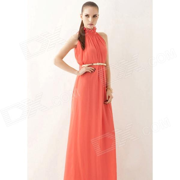 Fashion Chiffon Long Dress for Women - Watermelon Red (Free Size) - DXDresses<br>Color Watermelon Red Size Free Size Quantity 1 Set Shade Of Color Red Material Chiffon Style Fashion Chest Girth 113 cm Waist Girth 118 cm Hip Girth 118 cm Total Length 135 cm Suitable for Height 159-178 cm Packing List 1 x Dress 1 x Waist belt<br>