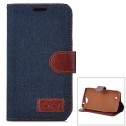 Denim Fabric Style Protective PU Leather Case for Samsung N7100 - Dark Blue + Brown