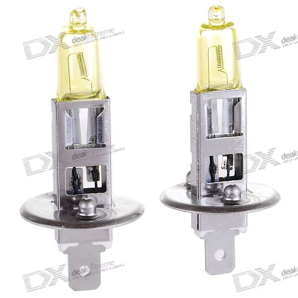 H1 100W Yellow Car Light Bulbs (2-Pack/DV 12V)