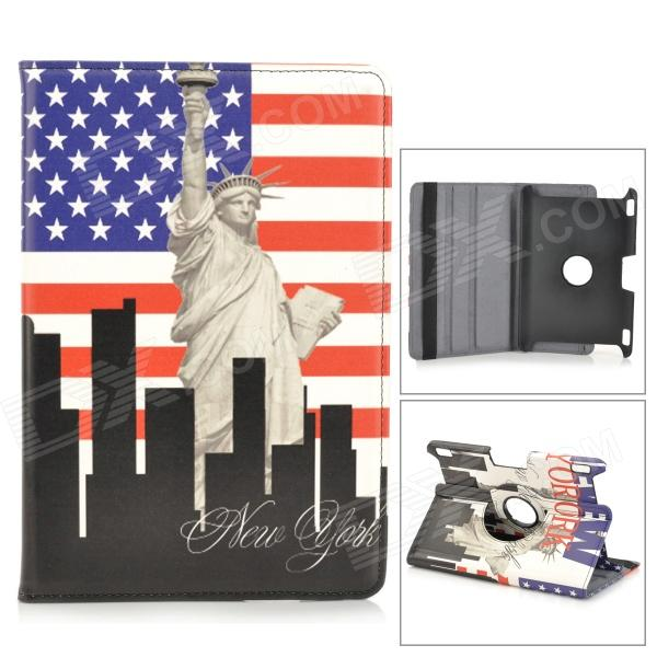 US National Flag Style Statue of Liberty Pattern Case for Amazon Kindle Fire HDX 8.9 - Red + Blue for amazon 2017 new kindle fire hd 8 armor shockproof hybrid heavy duty protective stand cover case for kindle fire hd8 2017