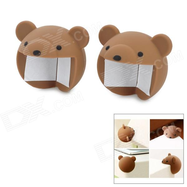Cute Bear Styl Silicone Anti Collision Angle Guard Set for Kids - Coffee (Pair) ivory abs resin anti collision angle guard for kids yellow