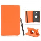 Protective PU Leather Case w/ Stylus Pen for Samsung Tab 3 7.0 T210 / T211 / P3200 / P3210 - Orange