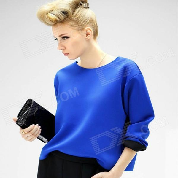 Woman's Stylish Long-sleeve Round Collar Cotton Blending T Shirt - Blue + Black (L)