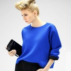 Woman's Stylish Long-sleeve Round Neck Cotton Blending T Shirt - Blue + Black (L)