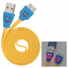 Smiley Micro USB 3.0 9Pin Charging / Data Flat Lighting Cable for Samsung Note 3 - Yellow (100cm)