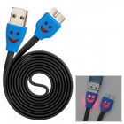 Smiley Micro USB 3.0 9Pin Charging / Data Flat Lighting Cable for Samsung Note 3 - Black (100cm)