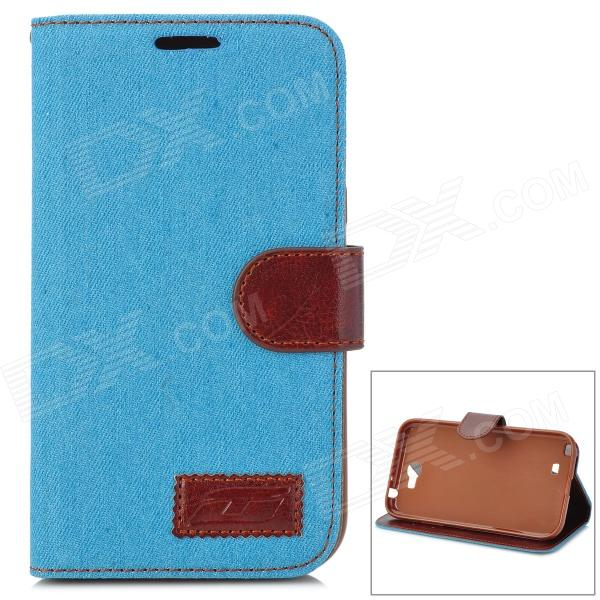 Denim Fabric Style Protective PU Leather Case for Samsung N7100 - Sky Blue + Brown blue sky чаша северный олень