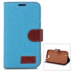 Denim Fabric Style Protective PU Leather Case for Samsung N7100 - Sky Blue + Brown