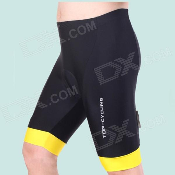 TOP CYCLING SAK206 Silicone Pad Cycling Quick-Drying Short Pants - Black + Yellow (Size L)