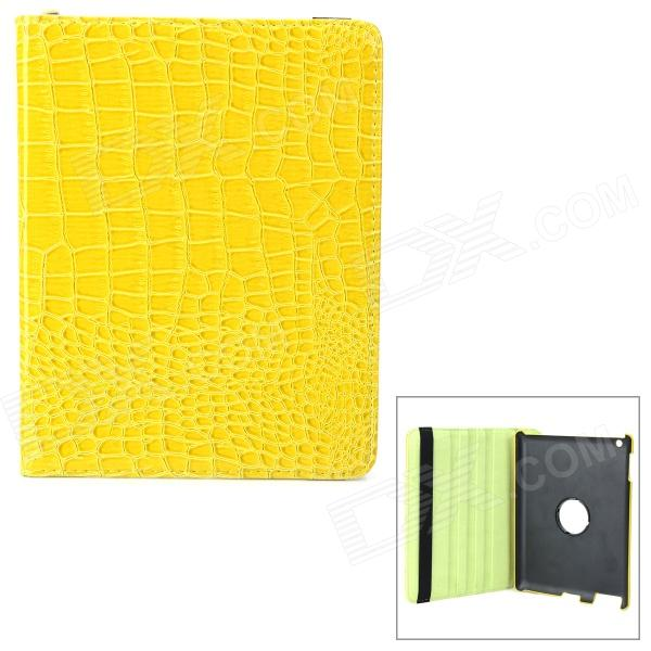 Crocodile Grain Style Protective 360 Degree Rotation PU Leather Case for IPAD 2 / 3 / 4 - Yellow crocodile grain style protective 360 degree rotation pu leather case for ipad 2 3 4 yellow