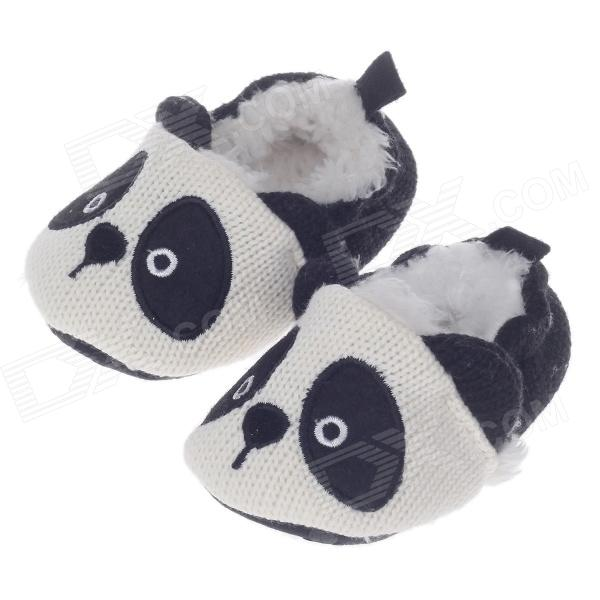 BY-5203 Cute Panda Style Anti-Slip Cotton Baby Shoes - White + Black ( 6~9 Months / Pair)