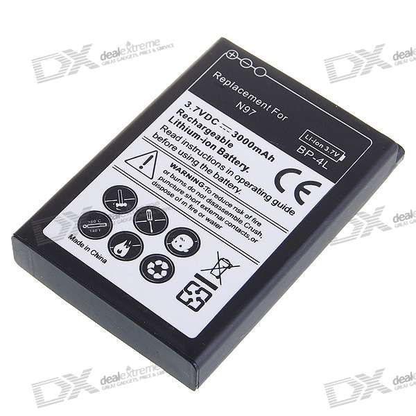 3000mAh 3.7V Rechargeable Li-Ion Battery with Battery Cover for Nokia N97 (Black)