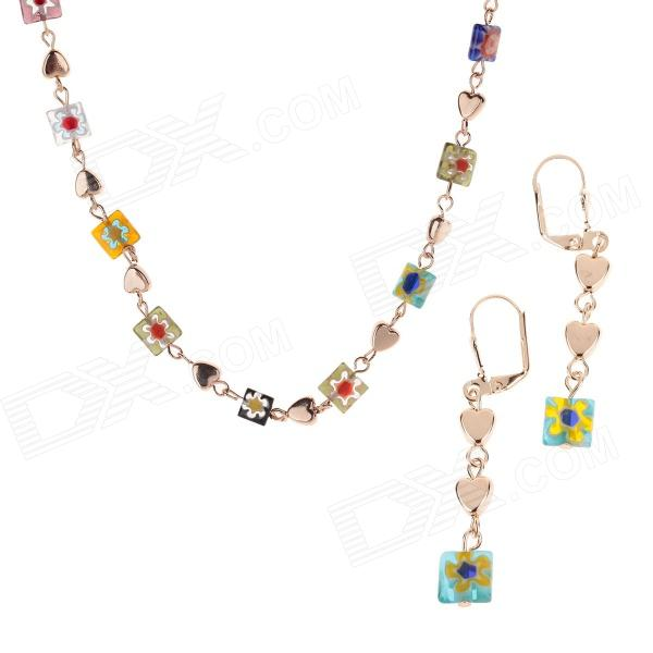 HH007 Fashion Jewelry Square And Heart-shape Crystal Zinc Alloy Necklace + Earrings - Multicolor characteristic floral and butterfly shape lace decorated body jewelry for women
