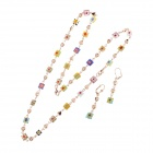 HH007 Fashion Jewelry Square And Heart-shape Crystal Zinc Alloy Necklace + Earrings - Multicolor