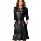 Fashion Leather Women's Long Trench Coat - Black (XL)