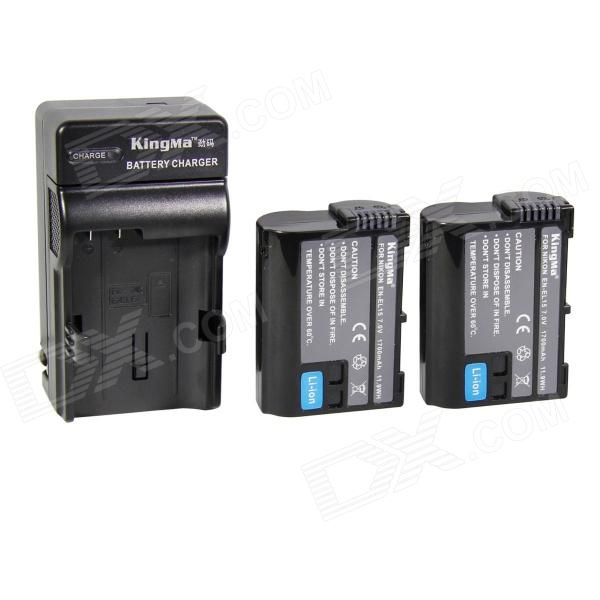 Kingma EN-EL15 1400mah Double Batteries w/ US Plug Charger for Nikon D7000 + More - Black meike mk d800 vertical battery grip for nikon d800 d810 as mb d12 2 en el15 battery dual charger for en el15 battery