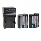 Kingma EN-EL15 1400mah Double Batteries w/ US Plug Charger for Nikon D7000 + More - Black