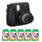 Genuine Fujifilm Instax Mini - Black  + 5 Box Fujifilm MiniFilm(10 sheets per pack x 2 packs)