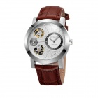 SKONES804 Trend Casual Men's Double Movement Watch - White + Brown