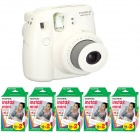 Genuine Fujifilm Instax Mini - White + 5 Box Fujifilm MiniFilm(10 sheets per pack x 2 packs)