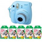 Genuine Fujifilm Instax Mini - Blue + 5 Box Fujifilm MiniFilm(10 sheets per pack x 2 packs)