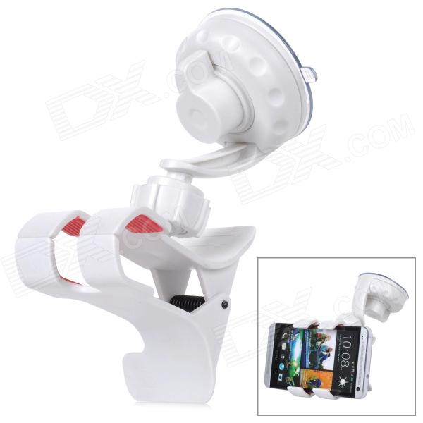 Multifunction Plastic Car Mount Holder w/ Sunction Cup for Cellphones - White universal car swivel mount holder with suction cup for mobile phone white