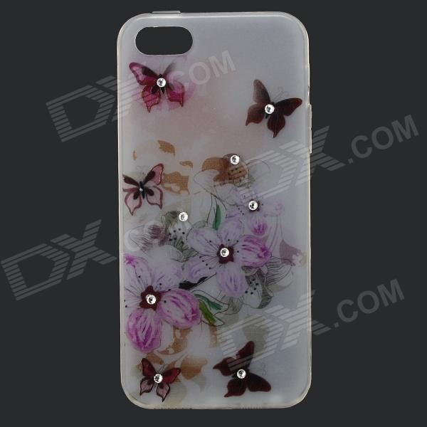 Butterfly Style Protective Rhinestone TPU Back Case for IPHONE 5 / 5S - White