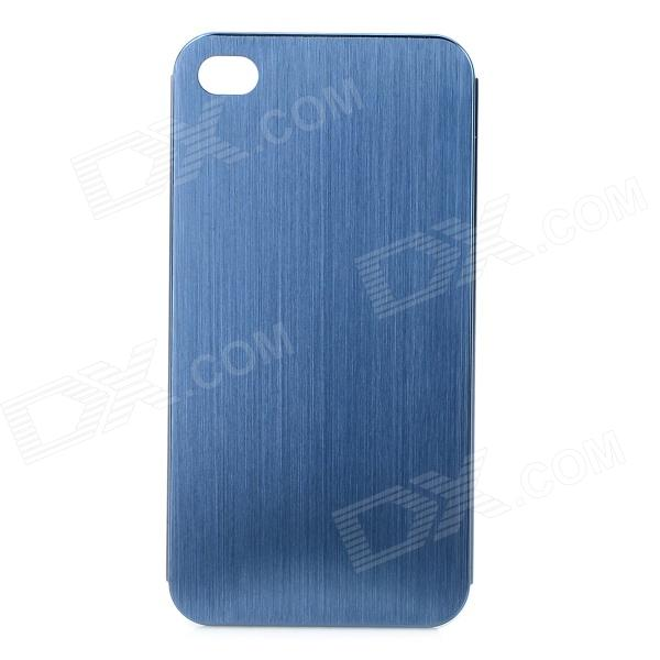 Stylish Protective Titanium Alloy Back Case for IPHONE 4 / 4S - Dark Blue stylish protective bumper frame case for iphone 4 4s dark blue