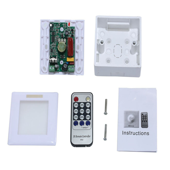 220V Trailing Edge Infrared Remote Triac Timing Dimmer - White (1 x CR2024) - DXOther Accessories<br>1. Working Temperature: -20~60 degree; Supply Voltage: AC 220V 50~60Hz; 2. Output: 1 Channel; Remote Distance: 8 meters; Control Way: trailing-edge dimming; 3. Can adjust the dimmable LED brightness?25% 50% 75% 100%; With timing function: 1H 2H 3H and time off<br>