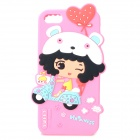 HELLO DEERE Cute Girl Style Protective Silicone Back Case for IPHONE 5 / 5S - Pink