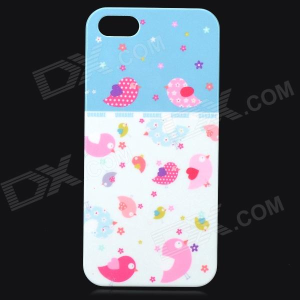 UNNAME ONE-007 Cute Bird Pattern Plastic Back Case for IPHONE 5 / 5s - White + Pink + Multi-Colored cute owl pattern tpu back case for iphone 6 plus 5 5 yellow orange multi color