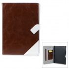Protective PU Leather + PC Case w/ Card Holder Slots for IPAD AIR - Brown + White