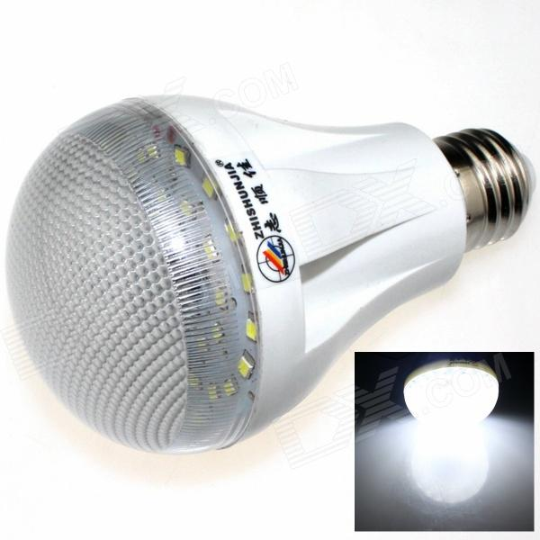 ZHISHUNJIA E27 7W 600lm 6500K 27-LED White Light Light-operated Body Induction Lamp Bulb - (85~265V) intelligent light control camera dedicated 48w led light powerful led according to the license plate100w for roads light factory