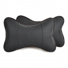 Comfortable PP Cotton Filler Super Fiber Surface Headrest Pillow for Car - Black + Khaki (2 PCS)