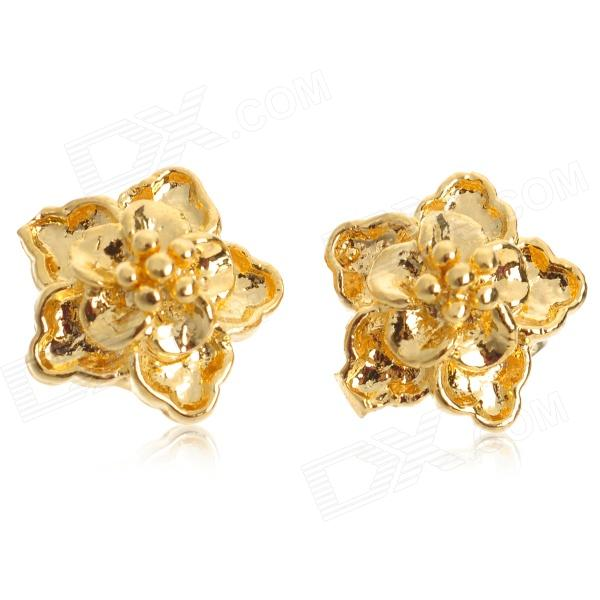 JEH001 Copper Elegant Flower Style Earrings for Women - Golden Yellow (Pair)