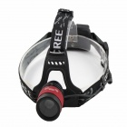 Dimmer Cree XM-L U2 700lm 3-Mode White Zooming Focus Headlight - Black + Red (2 x 18650)