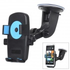 Plastic Car Mount Holder w/ Suction Cup for IPHONE 4 / Samsung / HTC + More - Black + Blue