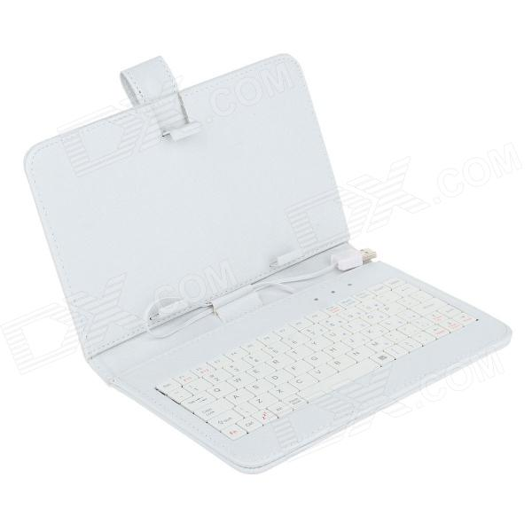 Universal Micro USB Wired 80-Key Keyboard PU Leather Case Stand for 7 Tablet PC - White ios windows android universal bluetooth keyboard abs leather case for 7 8 9 9 7 10 1 tablet pc case support russia keyboard