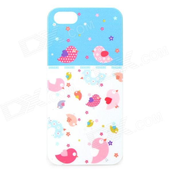 UNNAME ONE-072 Cute Cartoon Bird Pattern PC Back Case for IPHONE 4 / 4S - White + Pink cute popcorn pattern tpu back case for htc one mini m4 601e blue pink