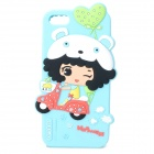 HELLO DEERE Cute Girl Style Protective Silicone Back Case for IPHONE 5 / 5S - Light Blue