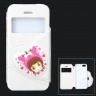 i-pub Cute Cartoon Style Protective PU Leather + TPU Case for IPHONE 5 / 5S - White + Pink