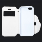 I-pub mignon cartoon style de protection en cuir PU + TPU pour IPHONE 5 / 5S - blanc + rose