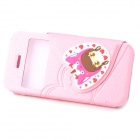 i-pub IPHONE5/5S Sweet Girl Pattern Flip Open PU Leather Case for IPHONE 5 / 5s - Red + Pink