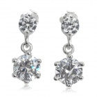 Fashion Rhinestone + Silver Earrings - Silver (Pair)