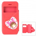 i-pub IPHONE5/5S Sweet Girl Pattern Flip Open PU Leather Case for IPHONE 5 / 5s - Red