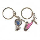 DEDO MG-71 Saxphone Style Pendant Zinc Alloy Couple's Keychain - Silver (2 PCS)