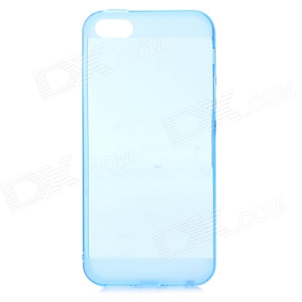 S-¿Qué estilo 0.5mm Caso Thin TPU Volver w / 3.5mm enchufe anti-polvo para IPHONE 5 / 5S - Azul