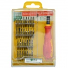 32-in-1 Professional Multifunction Screwdriver Kit Tool Set for Phone + More - Silver + Red + Yellow