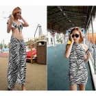 Zebra Pattern Chiffon Scarf for Women - White + Black