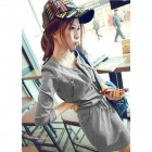 Casual Cotton Dress - Grey (Free Size)